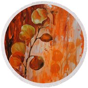 Leaves1 Round Beach Towel by Chris Steinken