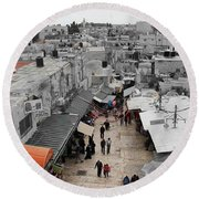 Leaving Old City Round Beach Towel