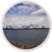 Leaving The Grand Tetons Round Beach Towel