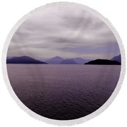 Leaving Vancouver Island Round Beach Towel