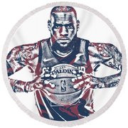 Lebron James Cleveland Cavaliers Pixel Art 54 Round Beach Towel