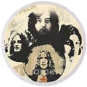 Led Zeppelin Autographed Album  Round Beach Towel