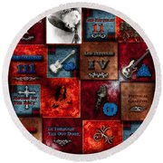 Led Zeppelin Discography Round Beach Towel