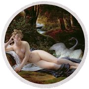 Leda And The Swan Round Beach Towel by Francois Edouard Picot