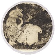 Leda Bathing (l?da Au Bain) Round Beach Towel