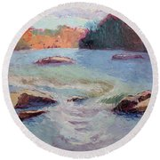 Ledges Afternoon Light Round Beach Towel