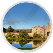 Leeds Castle And Moat Reflections Round Beach Towel
