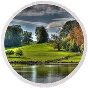 Leeds Castle Lake View Round Beach Towel