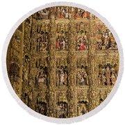 Left Half - The Golden Retablo Mayor - Cathedral Of Seville - Seville Spain Round Beach Towel