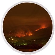 Lefthand Canyon Wildfire Night Time View Round Beach Towel