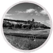 Legend Of The Bear Wyoming Devils Tower Panorama Bw Round Beach Towel