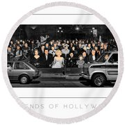 Legends Of Hollywood Poster Round Beach Towel