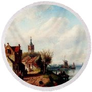 Leickert Charles A Village Along A River A Town In The Distance Round Beach Towel