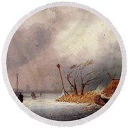 Leickert Charles A Winter Landscape With Skaters On A Frozen Waterway Round Beach Towel