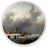 Leickert Charles Henri Joseph A Frozen Winter Landscape With Skaters Round Beach Towel