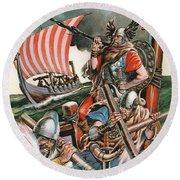 Leif Ericsson, The Viking Who Found America Round Beach Towel