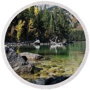 Leigh Lake Cove Round Beach Towel
