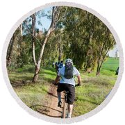 Leisure Cross Contry Cyclists Round Beach Towel