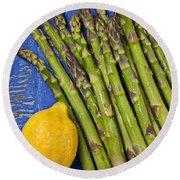 Lemon And Asparagus  Round Beach Towel