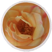 Lemon Blush Rose Round Beach Towel