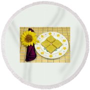 Lemon Candy Bars Round Beach Towel