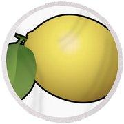 Lemon Fruit Outlined Round Beach Towel