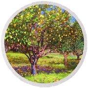 Lemon Grove Of Citrus Fruit Trees Round Beach Towel