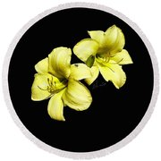 Lemon Lilies Round Beach Towel