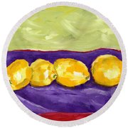 Lemon Party Round Beach Towel