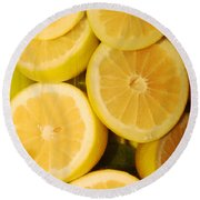 Lemon Still Life Round Beach Towel