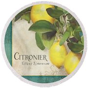 Lemon Tree - Citronier Citrus Limonum Round Beach Towel