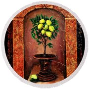Lemon Tree Round Beach Towel
