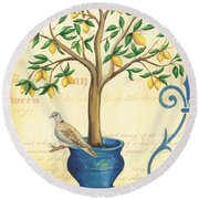 Lemon Tree Of Life Round Beach Towel