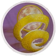 Lemon Twist I Round Beach Towel