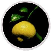 Lemon With Leaves Round Beach Towel