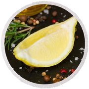 Lemon With Spices  Round Beach Towel