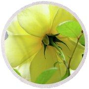 Lemon Yellow Rose Round Beach Towel