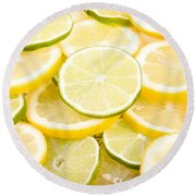 Lemons And Limes Abstract Round Beach Towel