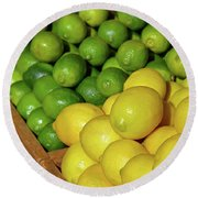 Lemons And Limes At Market Round Beach Towel