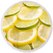 Lemons And Limes Round Beach Towel