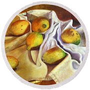 Lemons And Linen Round Beach Towel