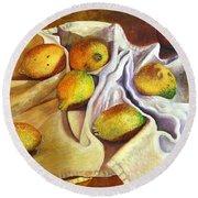 Lemons And Linen Round Beach Towel