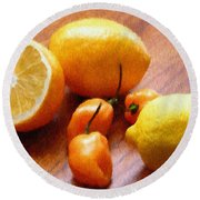 Lemons And Peppers Round Beach Towel