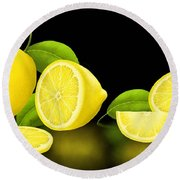 Lemons-black Round Beach Towel