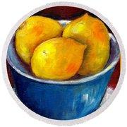 Lemons In A Blue Bowl Grace Venditti Montreal Art Round Beach Towel