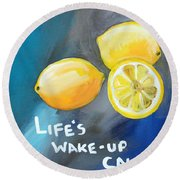 Lemons Round Beach Towel by Linda Woods