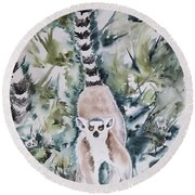Lemur Catta Round Beach Towel