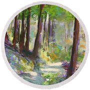 Lena Lake Trail Shadows Round Beach Towel