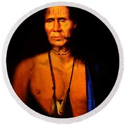 Lenape Chief Round Beach Towel