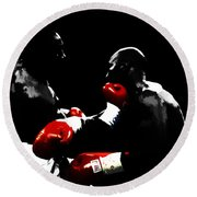 Lennox Lewis And Evander Holyfield  Round Beach Towel